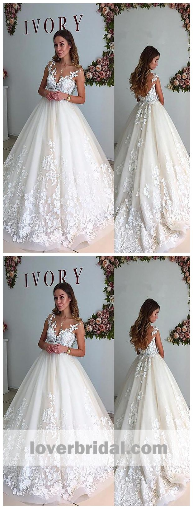 Sexy backless cap sleeve lace a line cheap wedding dresses online