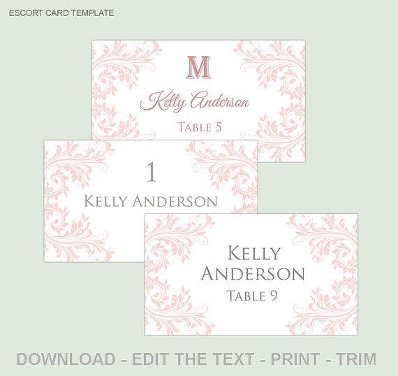 Printable wedding place card template  Blush pink wedding escort ...
