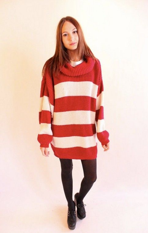 striped turtleneck sweater dress, red white stripe loose sweater ...
