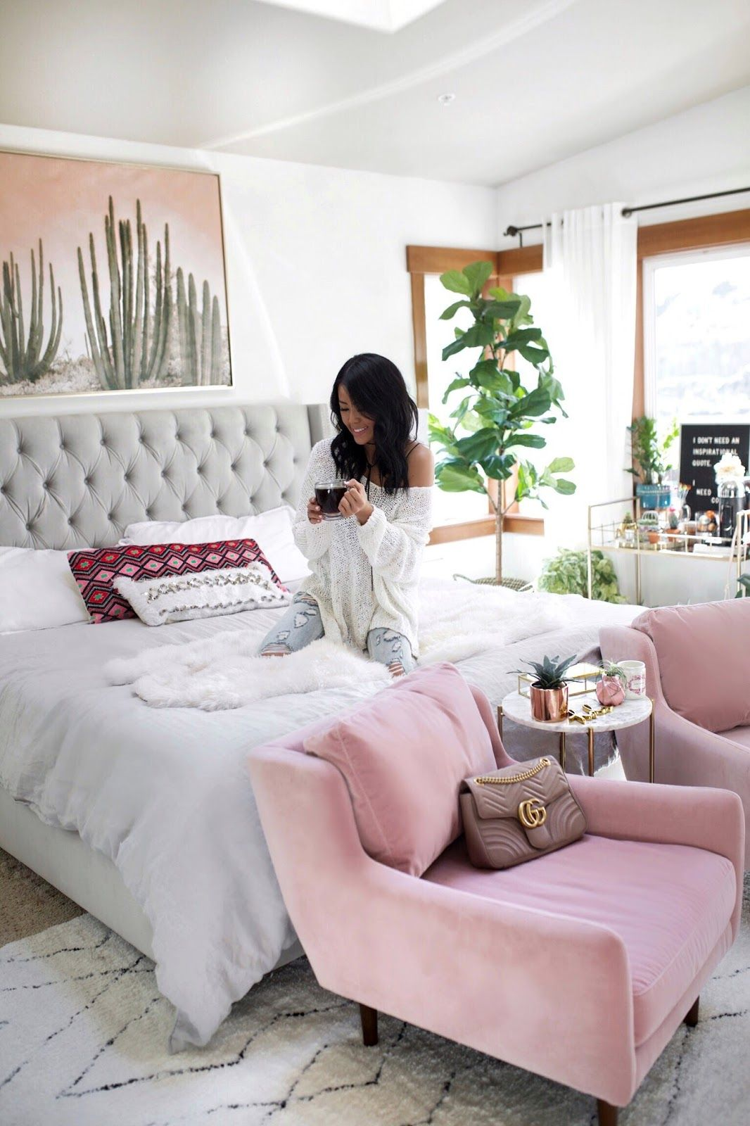Blogger White Bedroom Inspiration | Gypsy Tan - Blush Pink Chairs ...