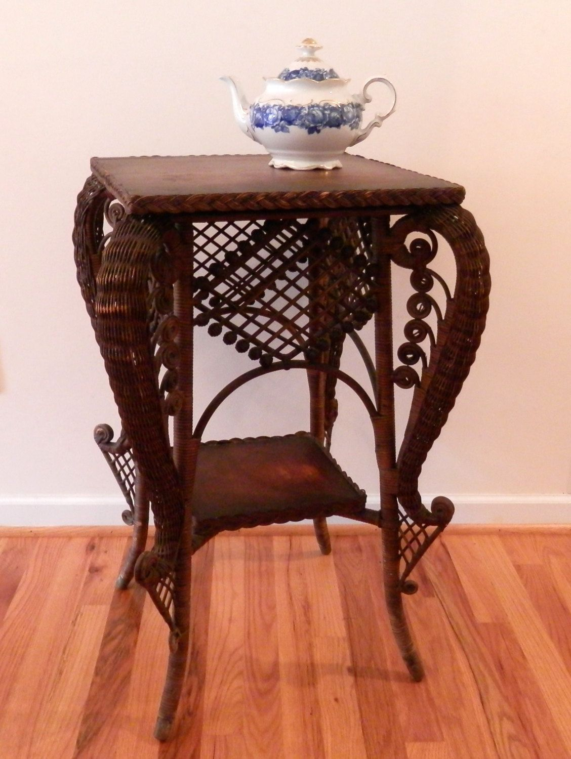 Antique Wicker Table - Victorian Style Natural Wicker Side Table by CraftItVintage on Etsy