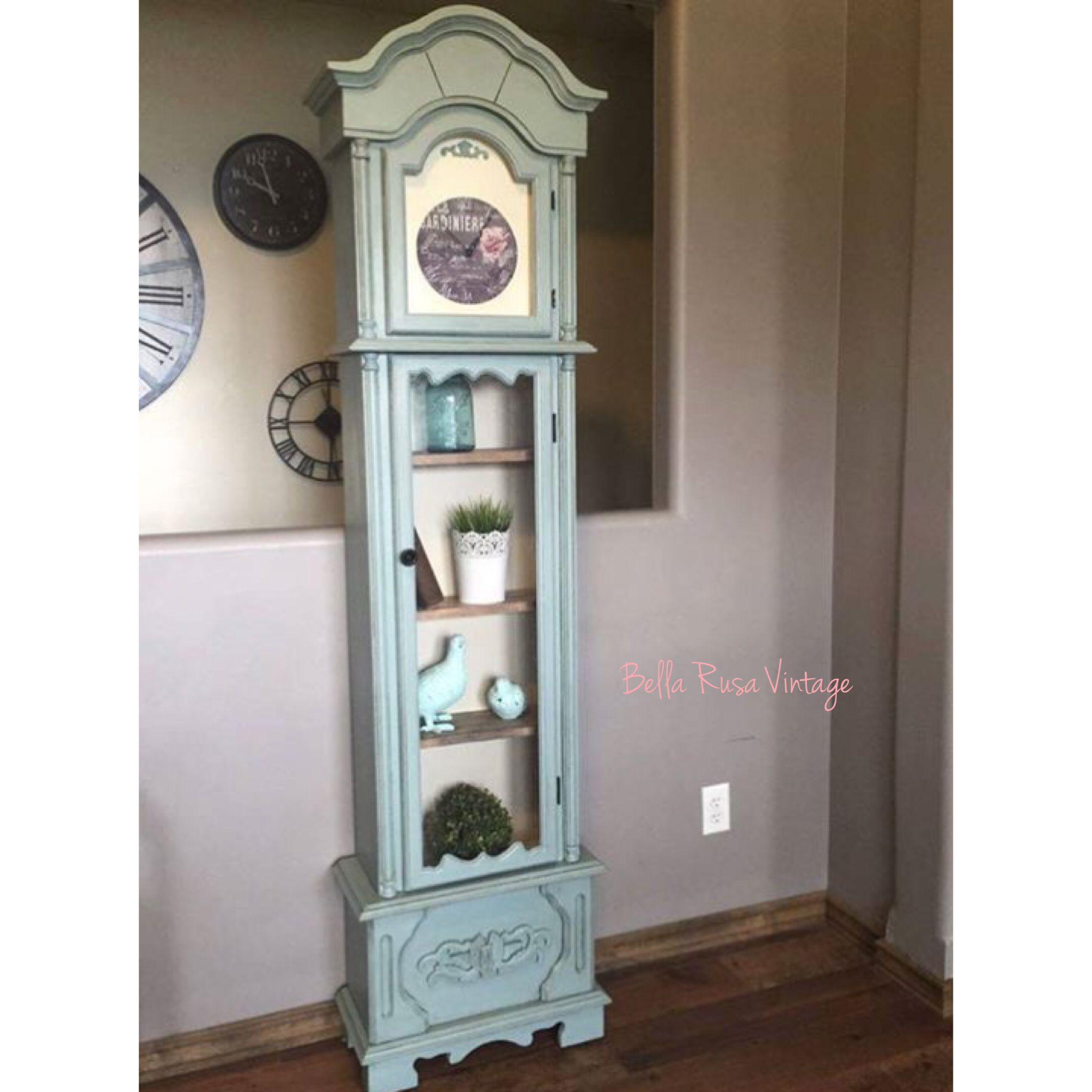 Refinished Annie Sloan Duck Egg Grandfather Clock Into Shabby Chic Hutch With New Face So Pretty Love