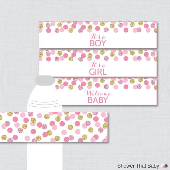Pink And Gold Water Bottle Labels Baby Shower By Showerthatbaby
