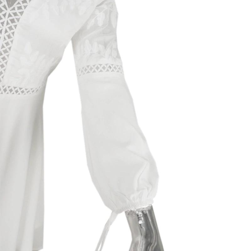 Bohemian Boho Beach Dress Summer Women Hollow Out Crochet Lace Chiffon Dress White V Neck Long Sleeve Backless Mini Sexy Dress JKP1824 #crochetbeachdress
