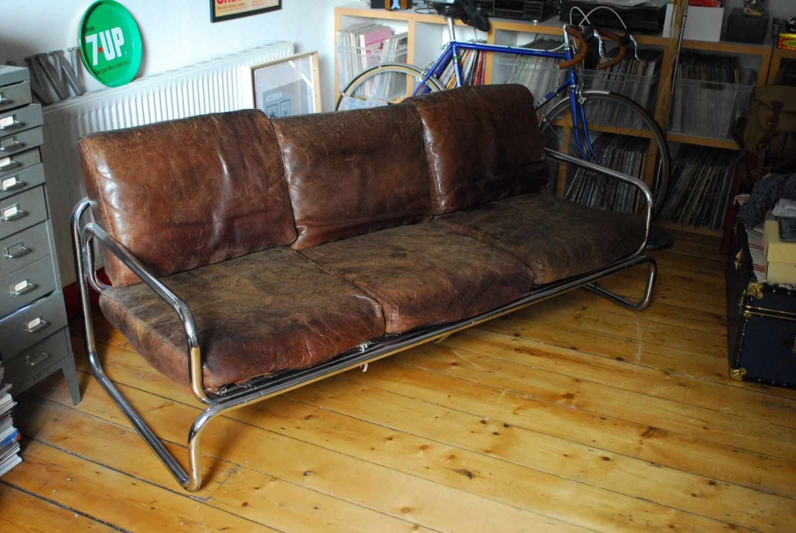 Vintage Retro 1970s Rodney Kinsman Omk Habitat Sofa Leather And Chrome Class In Retro Vintage Sofa Chrome