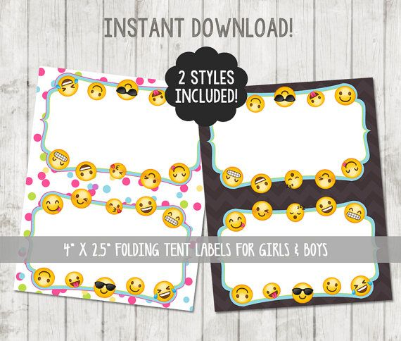 Printable Emoji Food Tent Labels Emoji Food Labels by ...