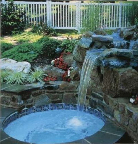 A waterfall is a great addition even to a small pool Estanques