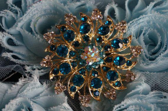 Glass Brooch Pin Rhinestones Crystal Gold plated Embellishment Broach DIY Wedding Bridal Bouquet Sash