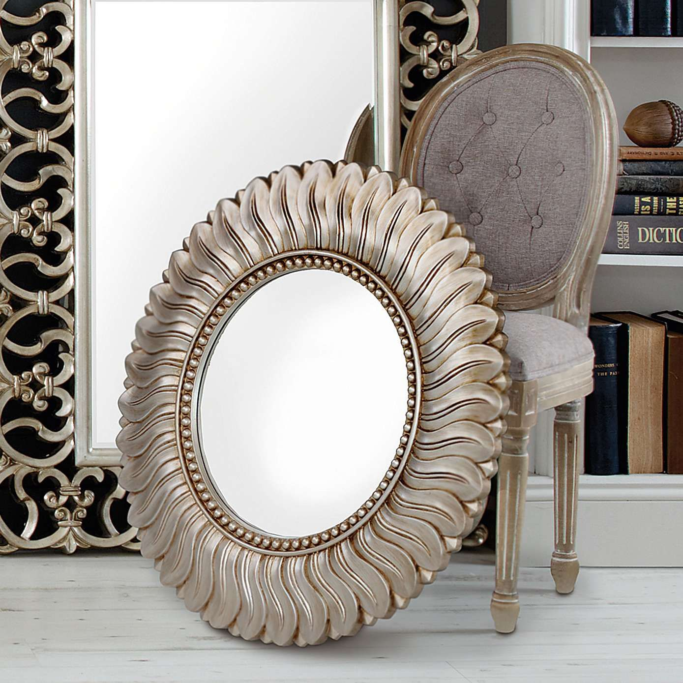 Champagne Leaf Mirror Living Room