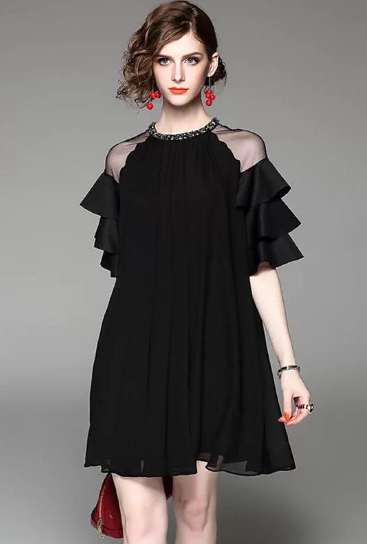 Beaded A Line Dress W Ruffled Sleeves The Dress Moda Stilleri Ve Boncuklu Elbiseler