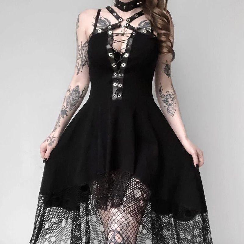 Cosplay Dresses for Women Gothic Street Punk Wind Dresses Bandage Pleated Strap Skirts Long Knee Sundress Skirt