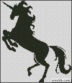Единорог монохром схема вышивки