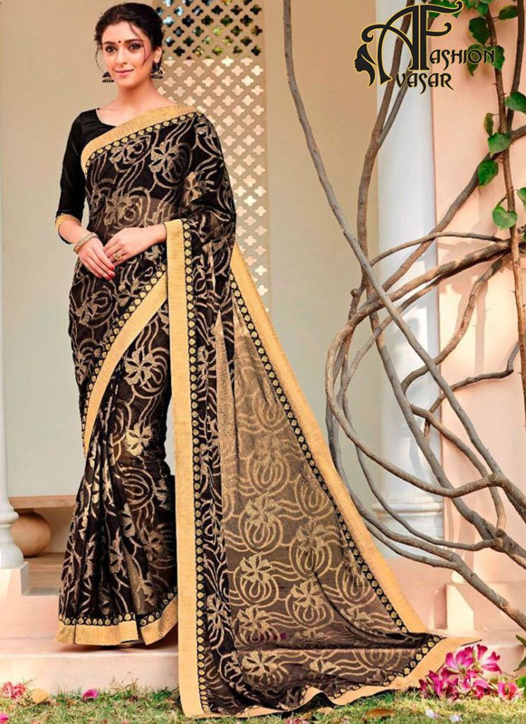 black georgette saree online