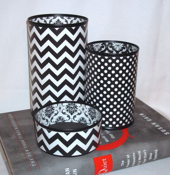 The Best Tin Can Desk Accessory Set Ever Pencil Holder Black And White Chevron