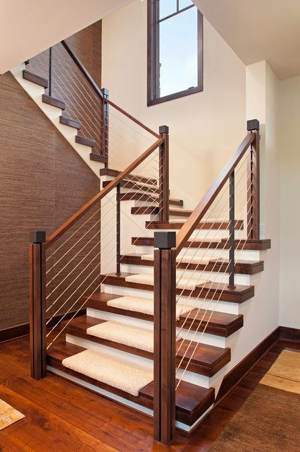 Lowes Stair Treads Staircase Contemporary With Cable Rail Carpet | Modern Stair Treads And Risers | Hardwood | Non Slip | Riser Short Stringer | Cap | Luxury Vinyl Stair