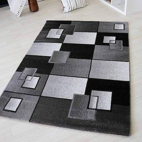 Teppich Modern Karo Design geometrisch in Schwarz und Beige - wohnzimmer beige karo
