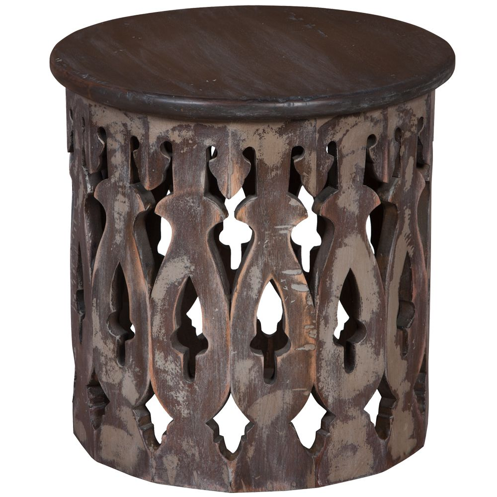 An Intricately Carved Base With Gothic Features Supports The Solid Wood Top Of This Small Coffee