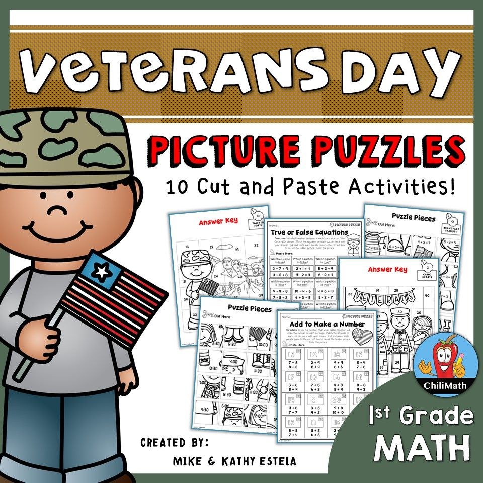 Veterans Day Math Picture Puzzles {1st Grade} Picture