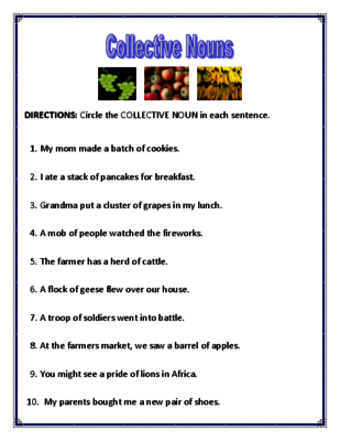 Collective Nouns Worksheets From Mr Dachshund Study Resources On