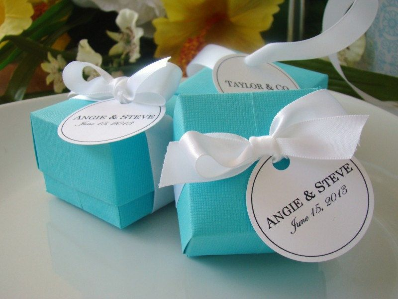 Pack of 50 T Blue Wedding Personalised Favor Boxes Chic Wedding Personalised Favor Stickers Gift Labels Wedding Thank You Gift Boxes