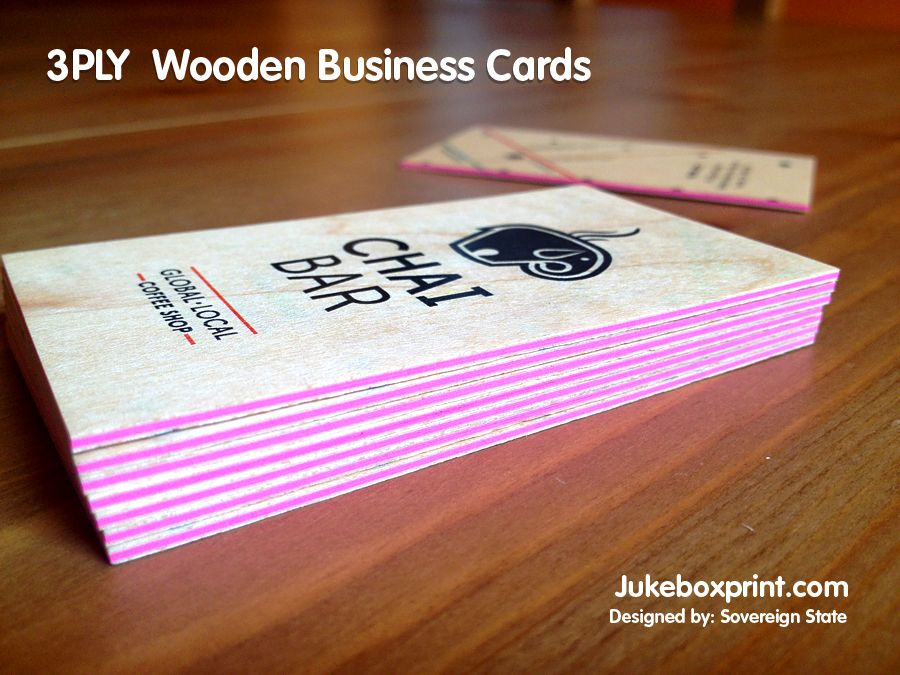 3 Ply Wooden Business Cards From Jukeboxprint Com Business Cards Online Wooden Business Card Custom Sticker Printing