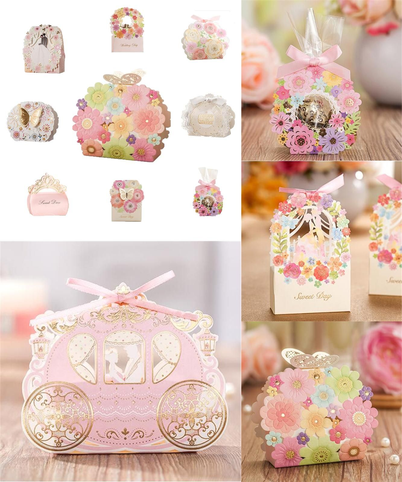 visit to buy sample wedding favors bag flower butterfly laser elegant luxury decoration party