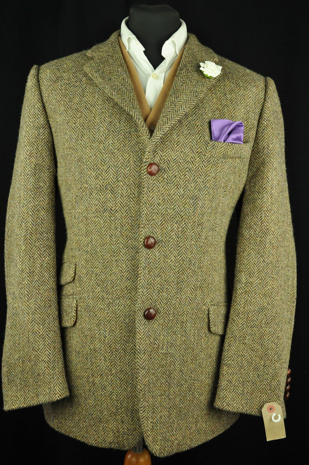 Vtg Harris Tweed Herringbone Country Tailored Hacking Jacket 44 527 Pristine Tweed Jacket Men Hacking Jacket Tweed Fashion