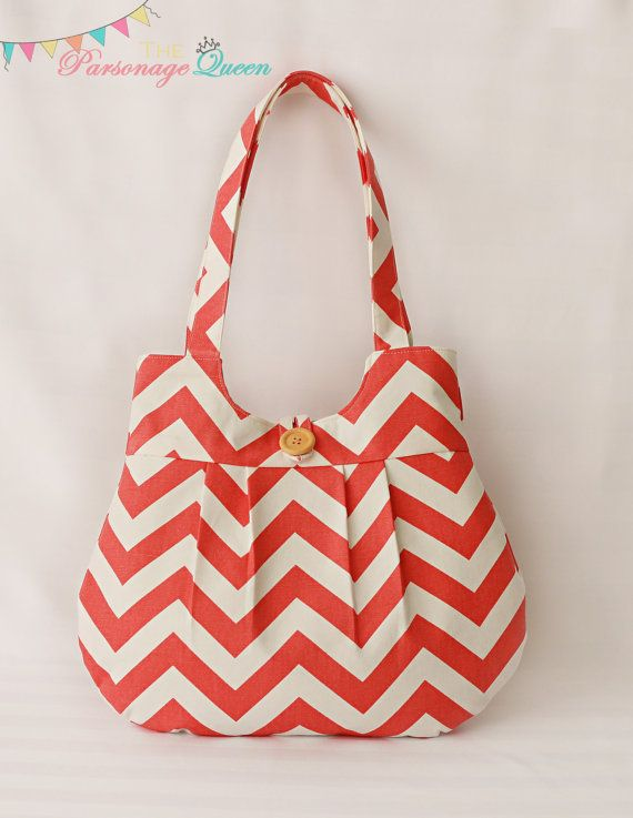 Coral Chevron Handmade Purse or Shoulder Bag with Aqua Lining made by  Brittany