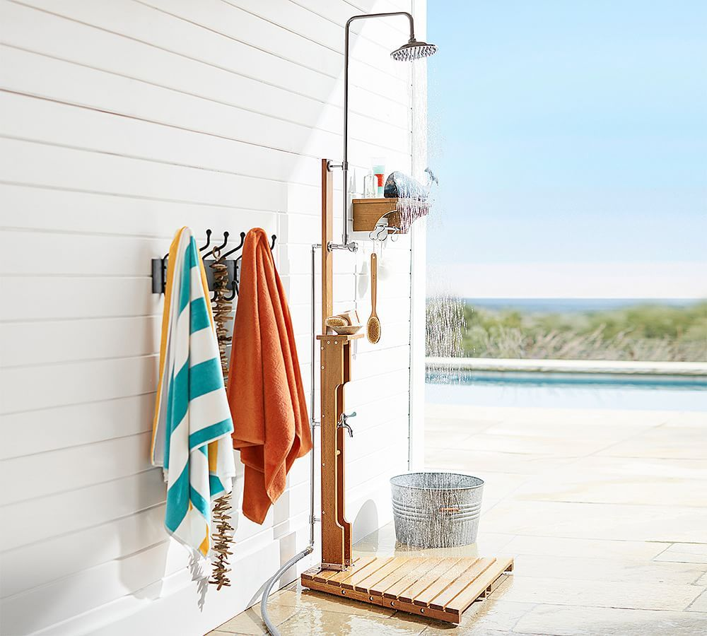 Outdoor Shower In 2020 Pottery Barn Outdoor Pool Shower Pool