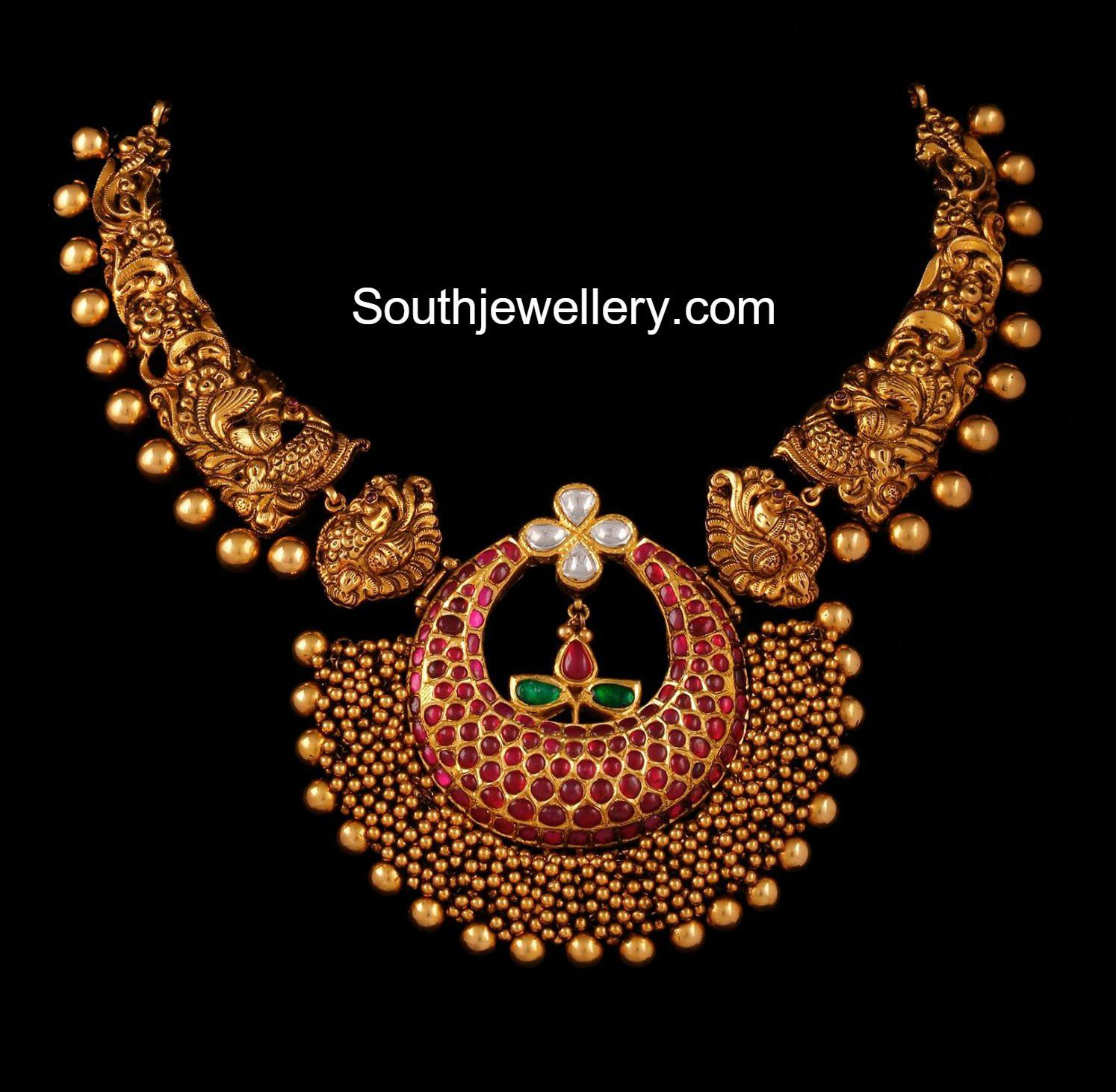 Latest gold necklace designs in grams pachi necklace latest jewellery - Peacock Nakshi Necklace With Ruby Gajjalu Pendant Photo