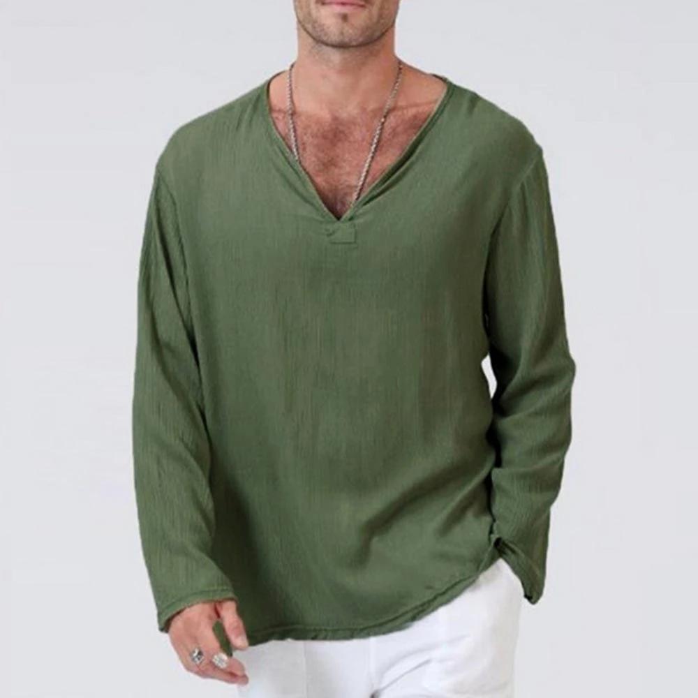 Mens V Neck T Shirts Long Sleeve Linen Cotton T-Shirt Casual Hippie Loose Tops