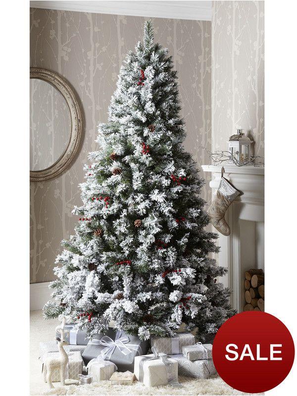 7ft Bavarian Pine Flocked Christmas Tree With Cones And Berries Christmas Tree With Snow Pine Christmas Tree Christmas Tree