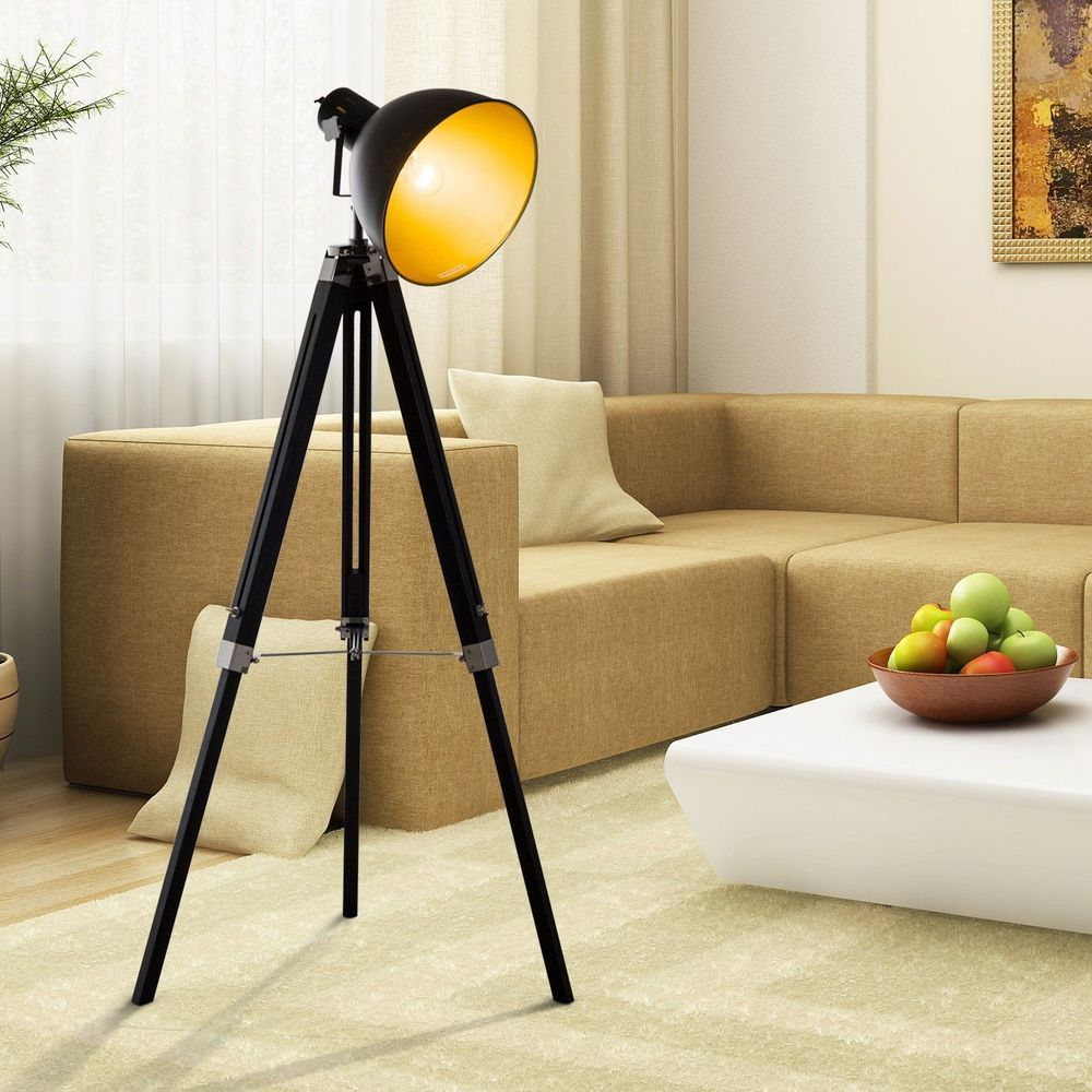 Retro Tripod Floor Lamp Black Metal Shade Electric Wood