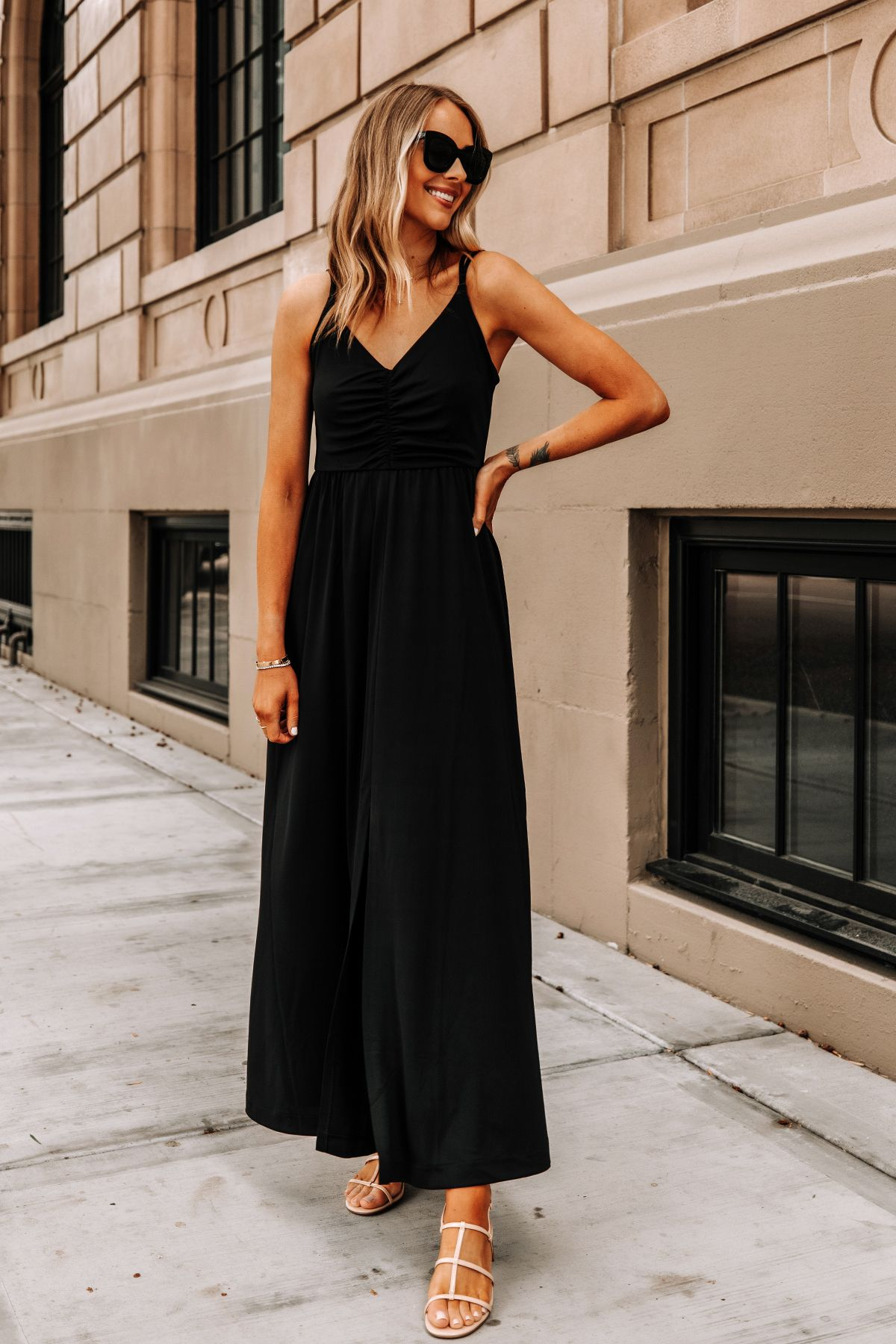 Fashion Jackson Wearing Banana Republic Black Maxi Dress Tan Sandals Summer Dress Outfits Black Dress Outfit Casual Black Dresses Casual [ 1800 x 1200 Pixel ]