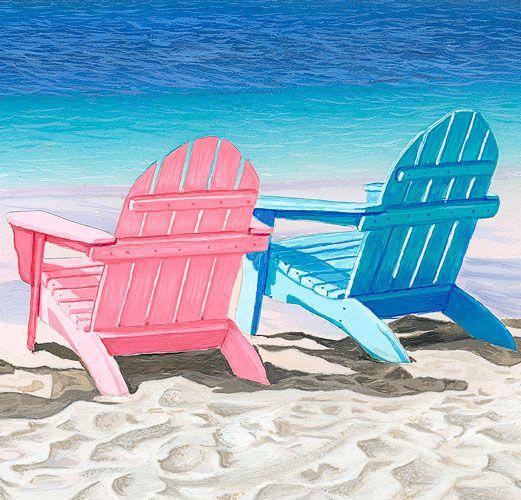 Beach Chairs Art Print, Beach Art, Ocean Palm Trees Art Print Beach Wall  Decor, Ocean Art, Beach Poster, Adirondack Chairs Art Print, Blue