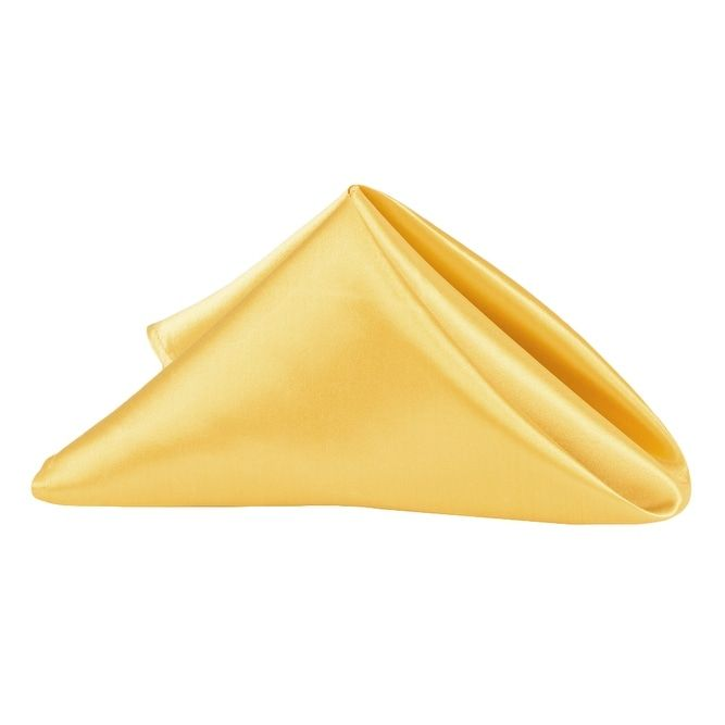 "50 Pieces, Satin Napkin 20""x20"" square Edge: Hemmed Material: 100% Polyester - Bright Gold"
