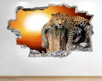 sticker mural coucher de soleil leopard