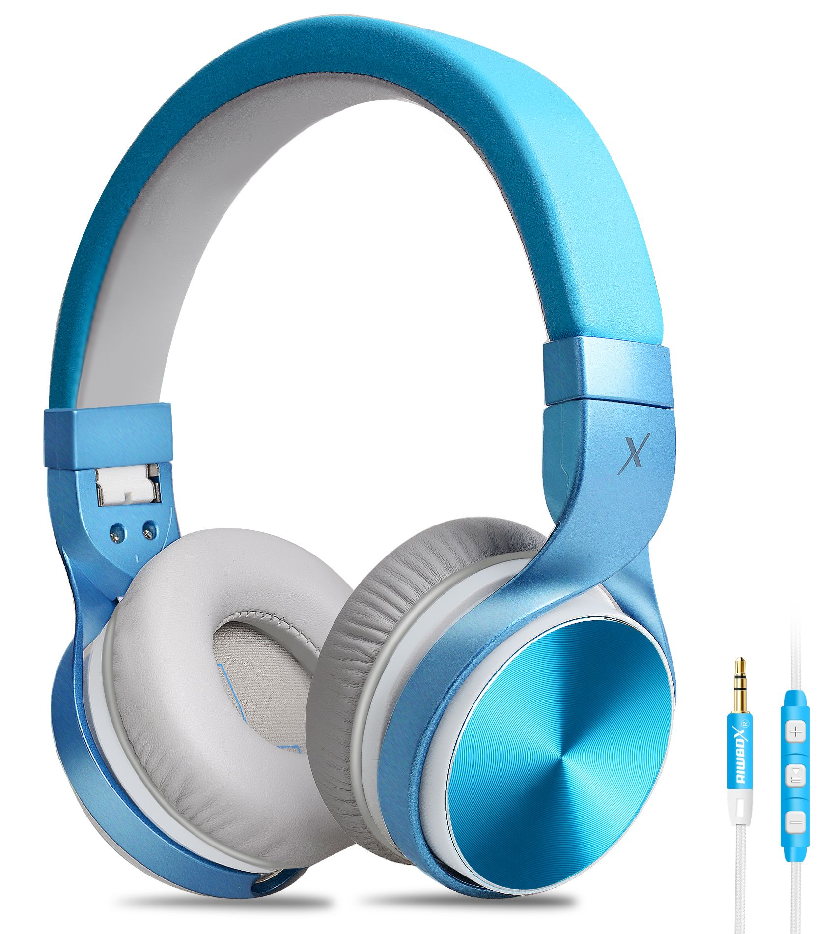 Riwbox IN5 bue foldable wired headphones, On -ear headphones with ...