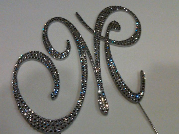 6 custom crystal monogram cake topper letter by barbiehilldesigns 9000