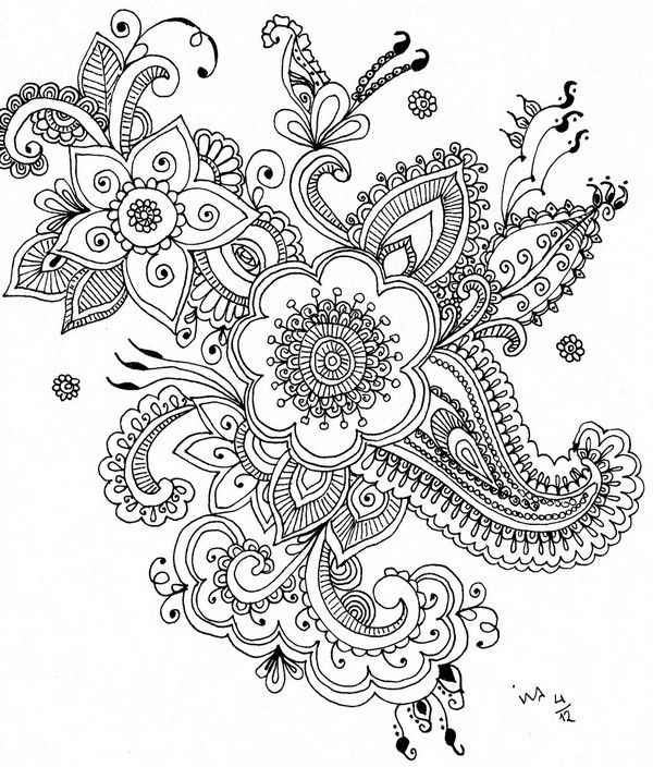 Henna Flowers Flower Henna Mandala Coloring Pages Doodle Art Flowers