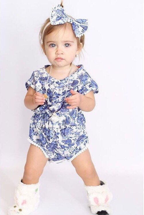 c4b233af1 Fine China romper, comes wjth matching headband, Royal blue Floral Romper, baby  girl clothes, boho b