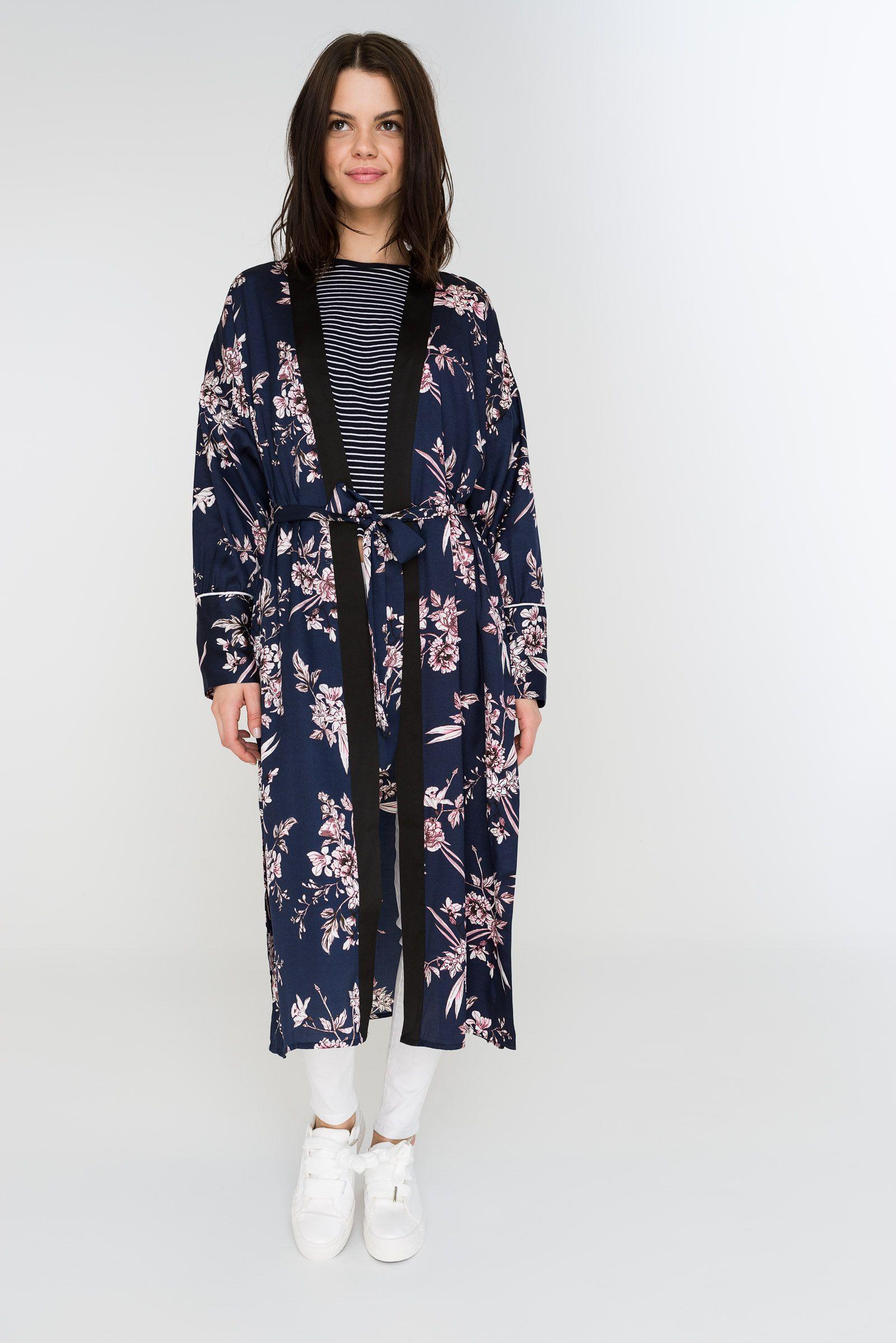 3c876821a Long sleeve kimono. Waist tie strap. 100% polyester. Model is wearing size