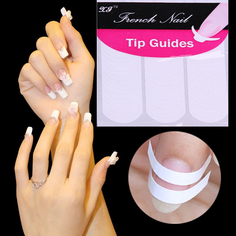 DIY French Manicure Nail Art Decorations Round Form Fringe Guides ...
