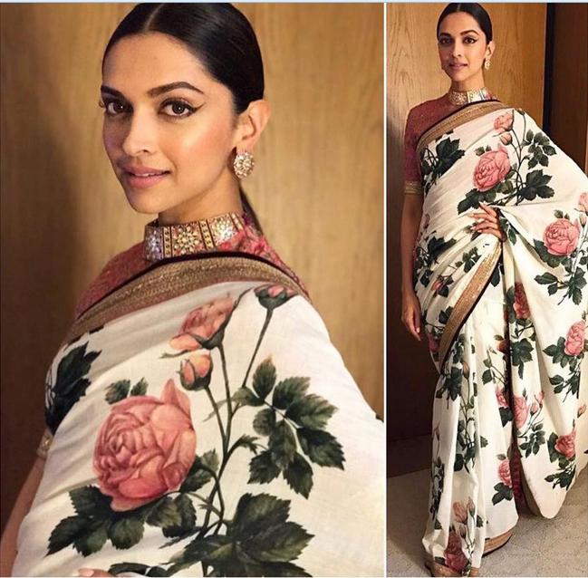 Deepika Padukone In A n embroidered Sari.For This Sari ...