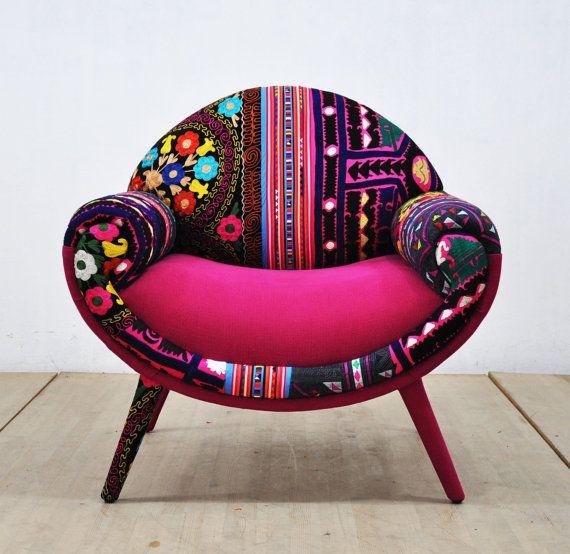 Amour De Fauteuil Rose Patchwork Smiley Par Namedesignstudio Patchwork Armchair Funky Furniture Armchair
