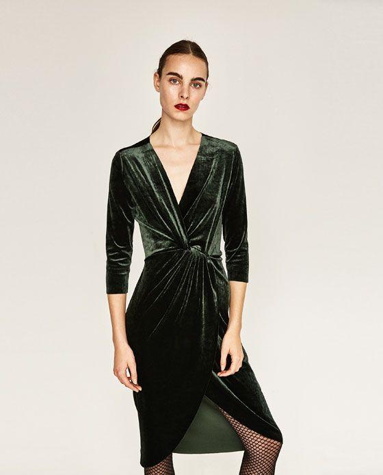 bb747b76 Image 2 of CROSSOVER VELVET DRESS from Zara | style | Velvet fashion ...