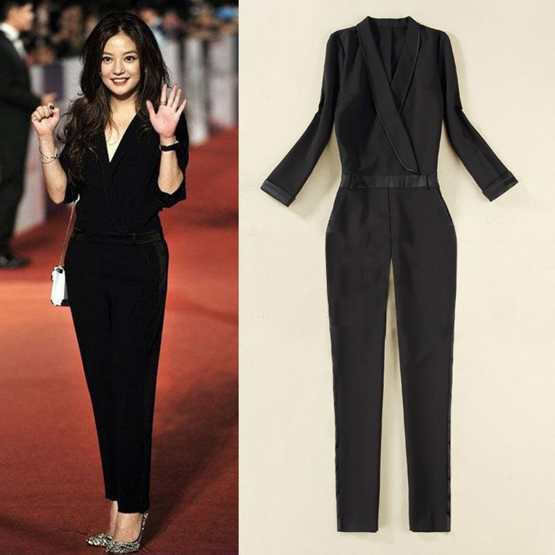 Cocktail Jumpsuits For Women 2014 | 2014 New Summer Women Clothing Full Sleeve Formal Solid ...