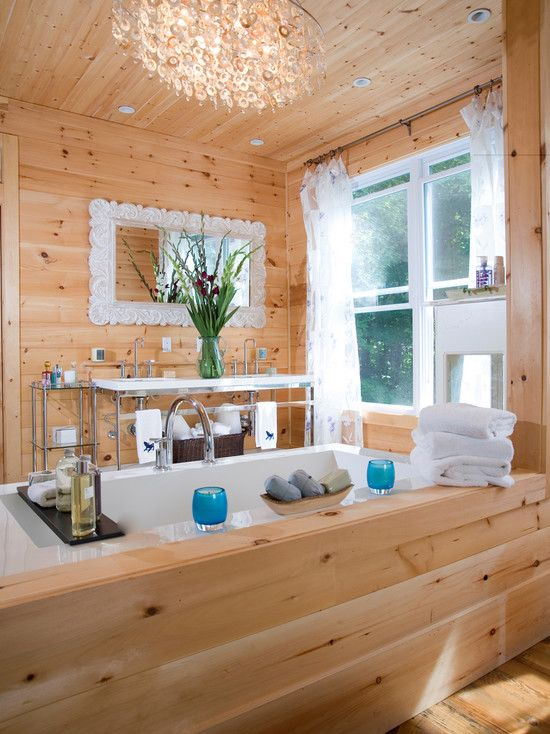Knotty Pine Bath Wall Design, Pictures, Remodel, Decor and