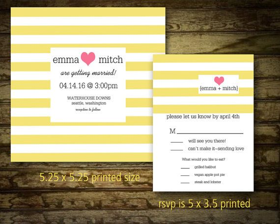 Striped Wedding Invitation Set Square Striped Wedding Invitation and Response Card with Modern Heart Digital printable Wedding Suite by NotedOccasions