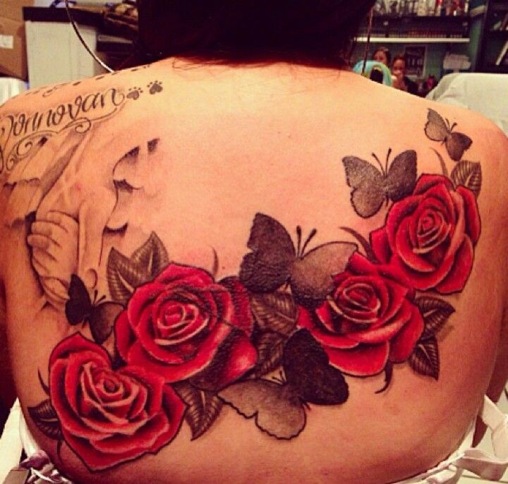 Rose And Butterfly Upper Back Tat Body Tattoo Design Flower Cover Up Tattoos Cover Up Tattoos For Women